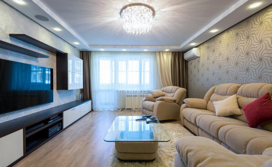 Дизайн просторной гостиной в современной квартире