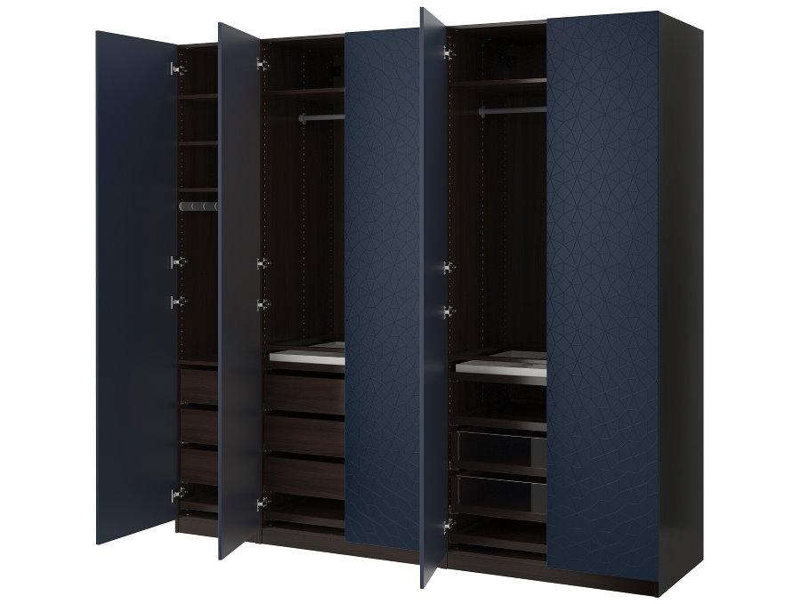 Темный шкаф с выдвижными ящиками