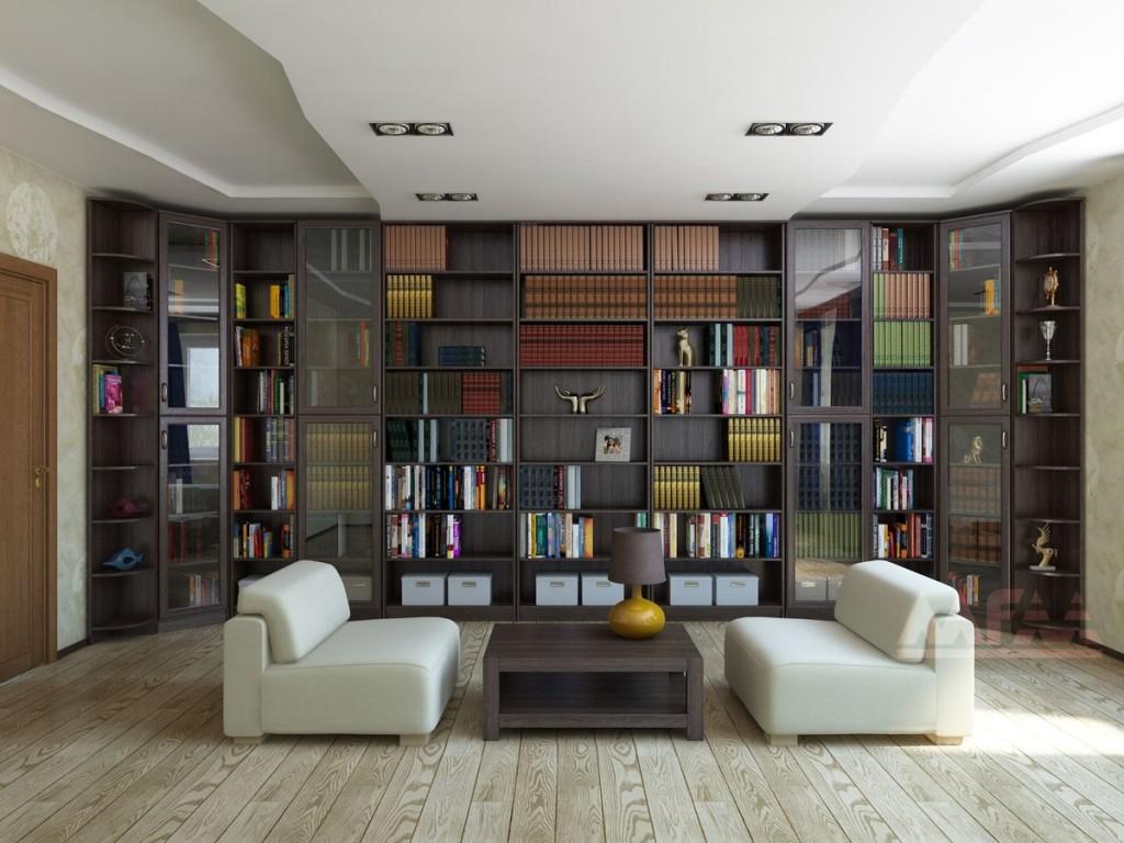 Книжные стеллажи во всю стену просторного зала