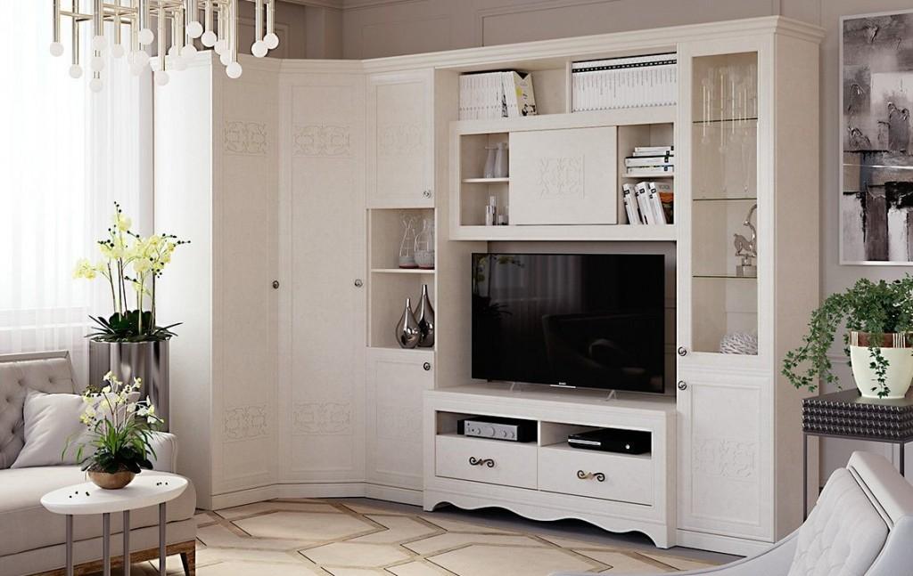Угловая стенка с распашным шкафом в гостиную