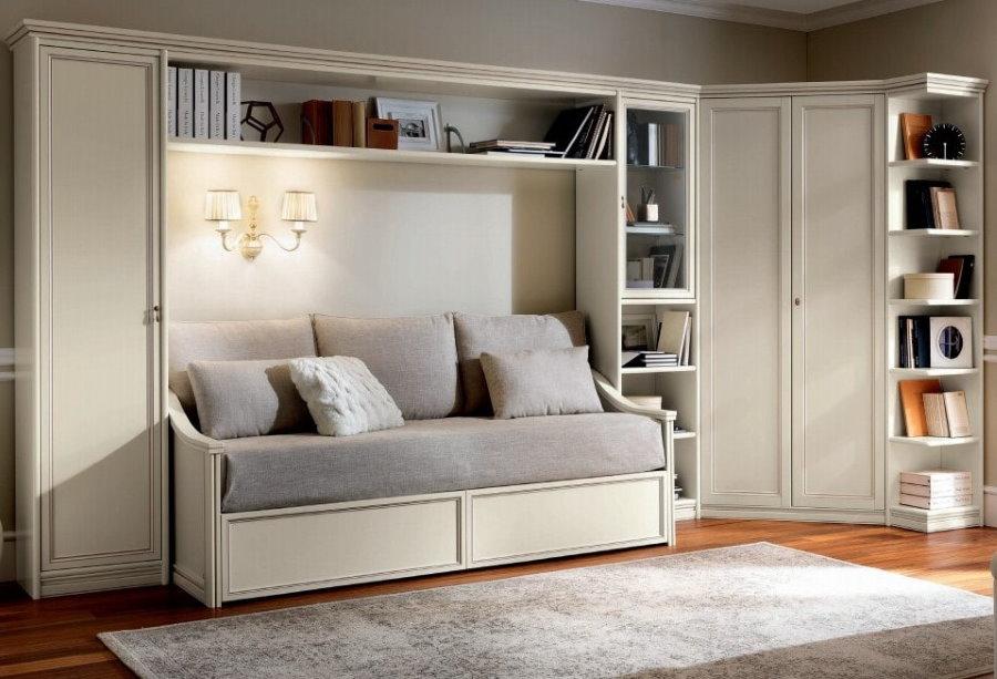 Угловая стенка со шкафом и диваном