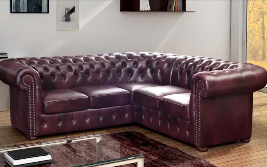Угловой диван честер для гостиной комнаты