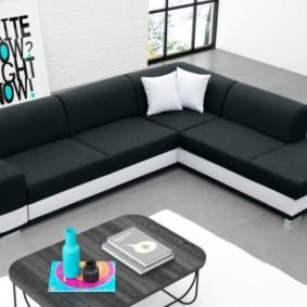 Черно-белая обивка на раскладном диване