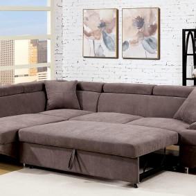 Угловой диван в разложенном состоянии