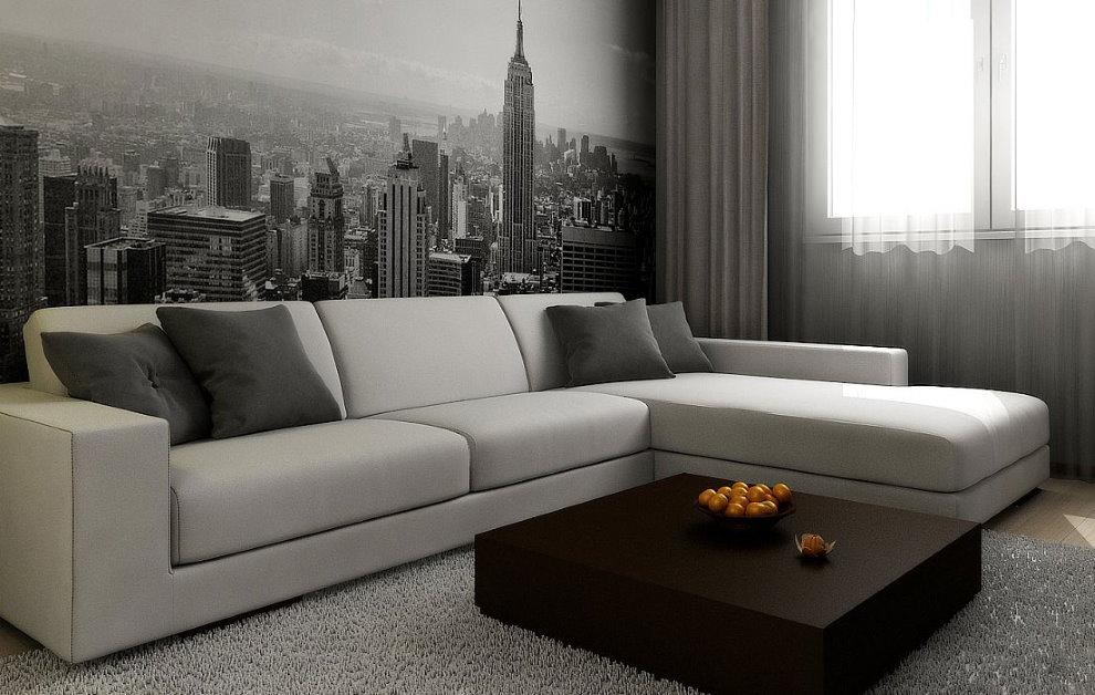 Светлый угловой диван под обоями с фотопечатью
