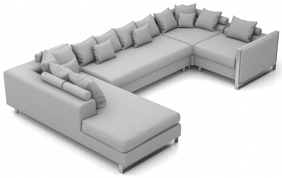 Угловой модульный диван с тканевой обивкой