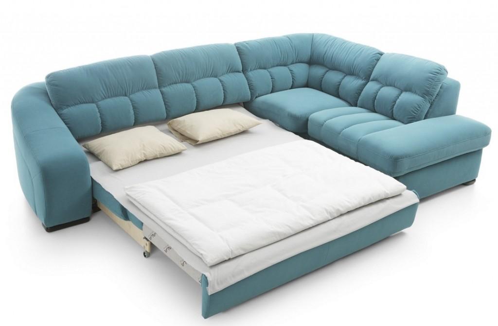 Угловой диван выкатной конструкции для гостиной