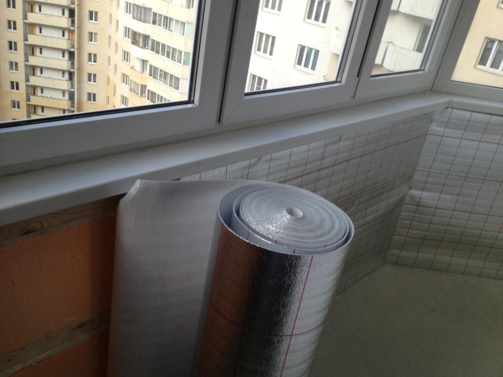 Утепление стены лоджии рулонным пенофолом