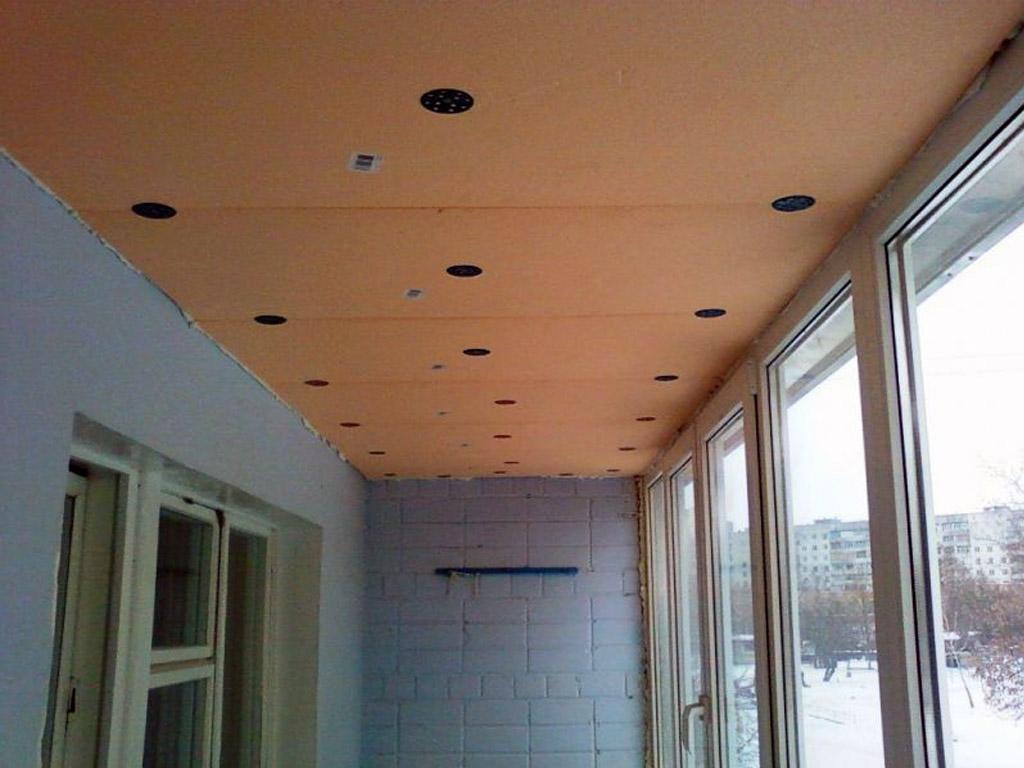 Утепление потолка балкона без каркаса