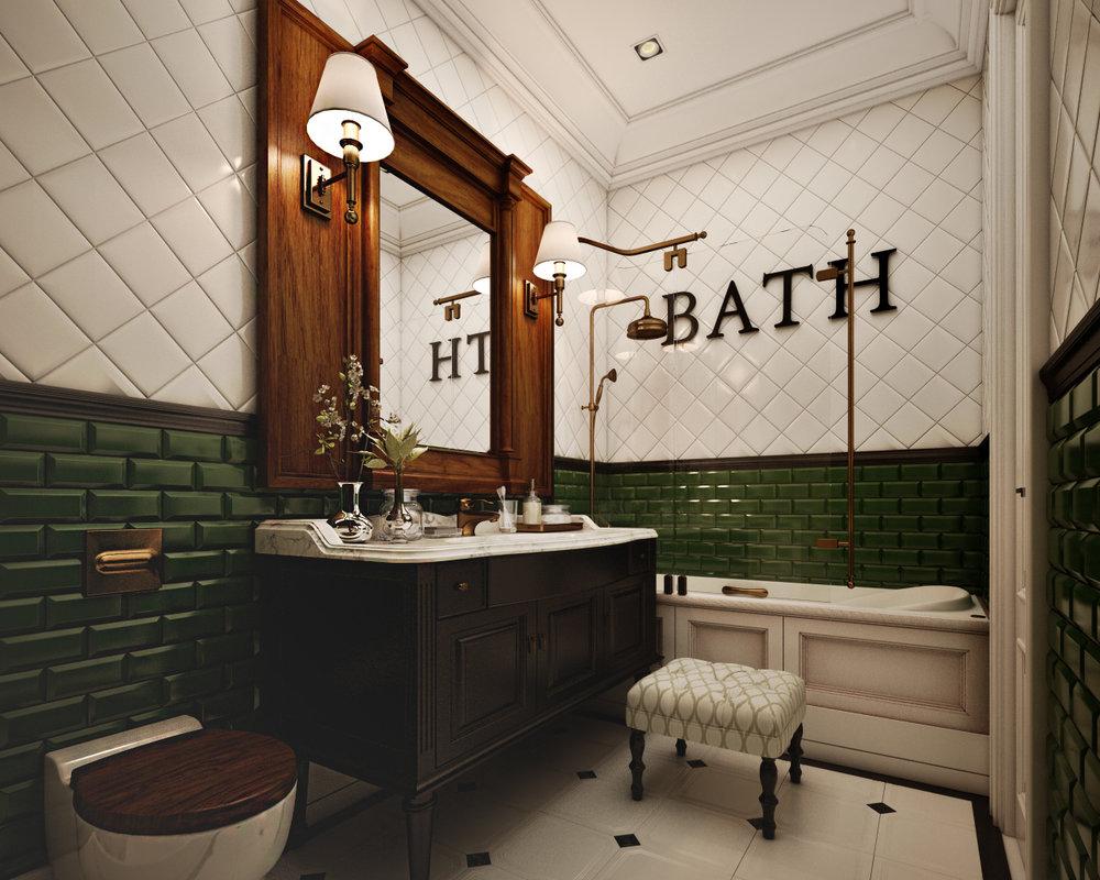 Интерьер ванной комнаты в стиле ретро