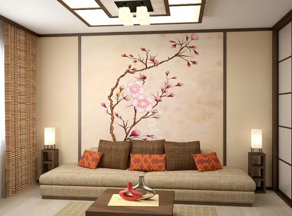 Низкий диван в гостиной японского стиля