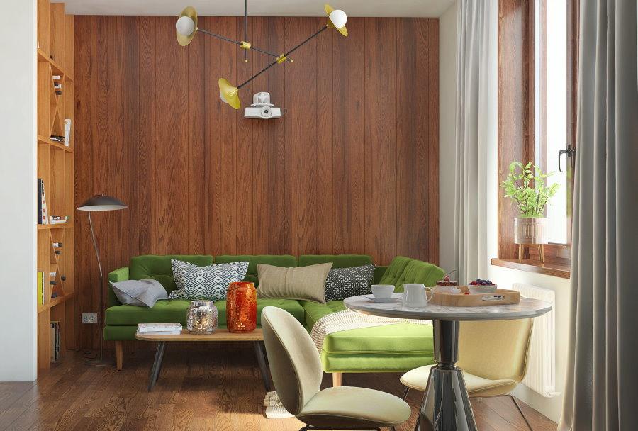 Дизайн гостиной комнаты с деревянными панелями