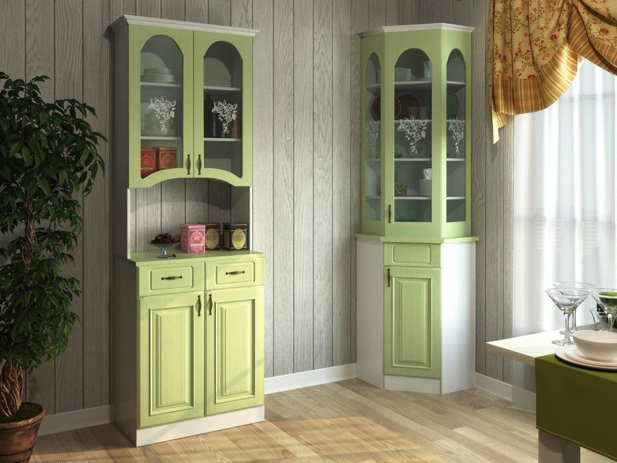 Зеленый шкаф для посуды в углу гостиной комнаты