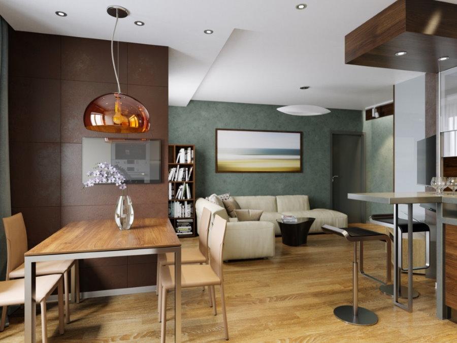 Зонирование однокомнатной квартиры цветом стен