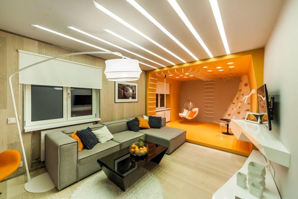 Зонирование светом пространства квартиры-студии