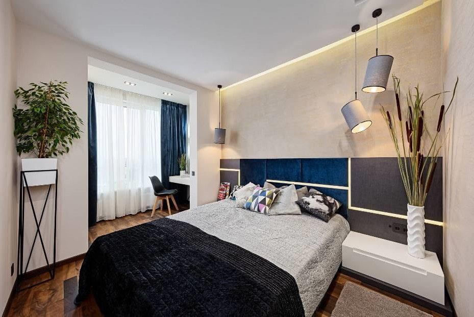 Освещение спальной комнаты с утепленным балконом