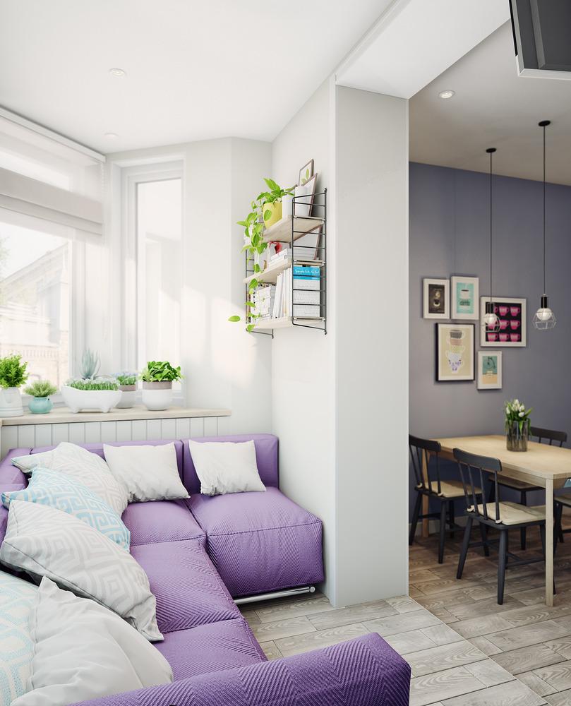 Удобный диван на балконе в однокомнатной квартире