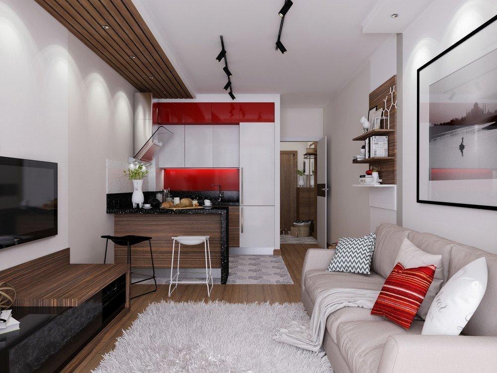 Красные акценты в маленькой квартире