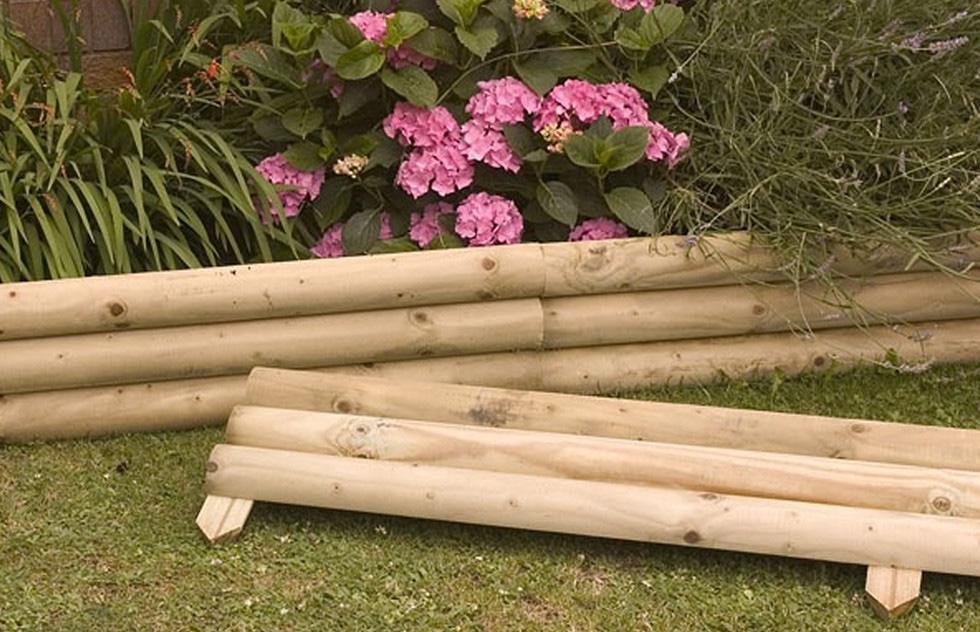 Бордюры из бревен для садовых клумб