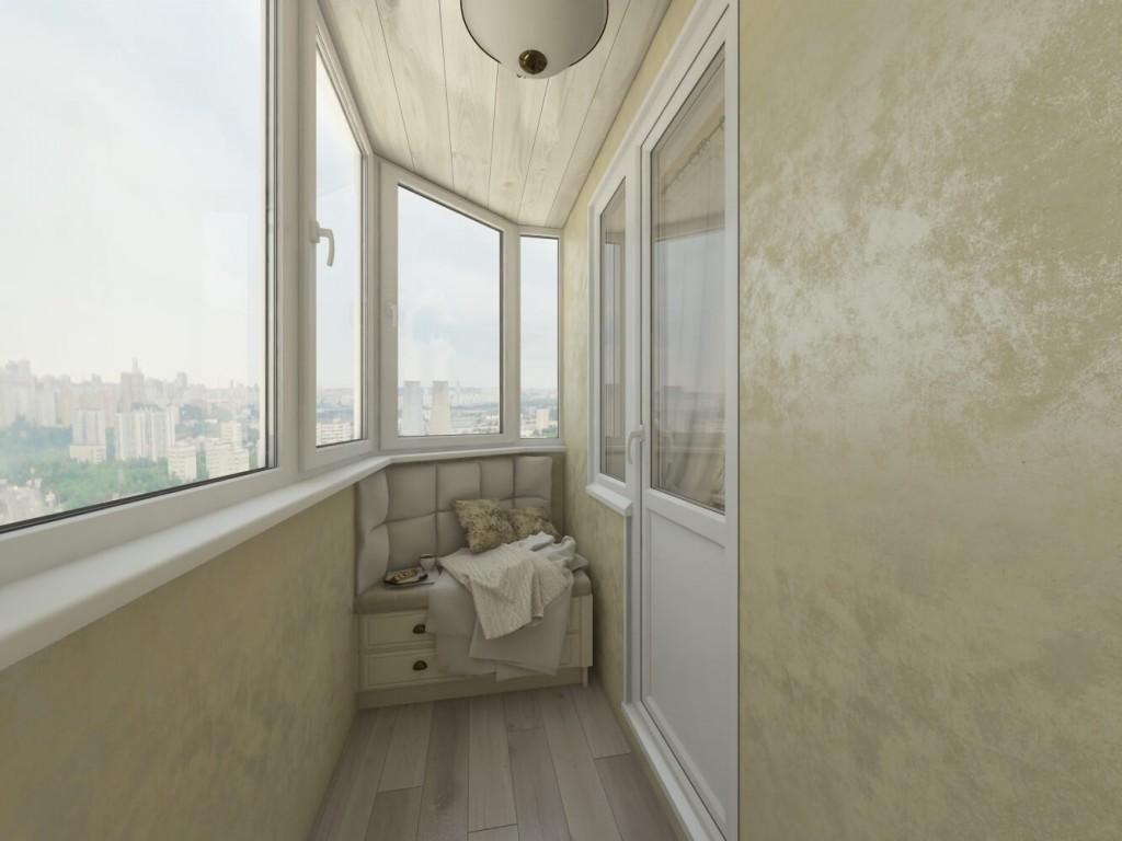 Дизайн балкона с отделкой венецианской штукатуркой