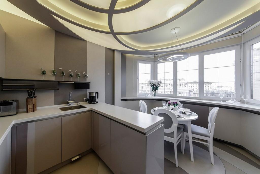 Дизайн кухни с лоджией в трехкомнатной квартире
