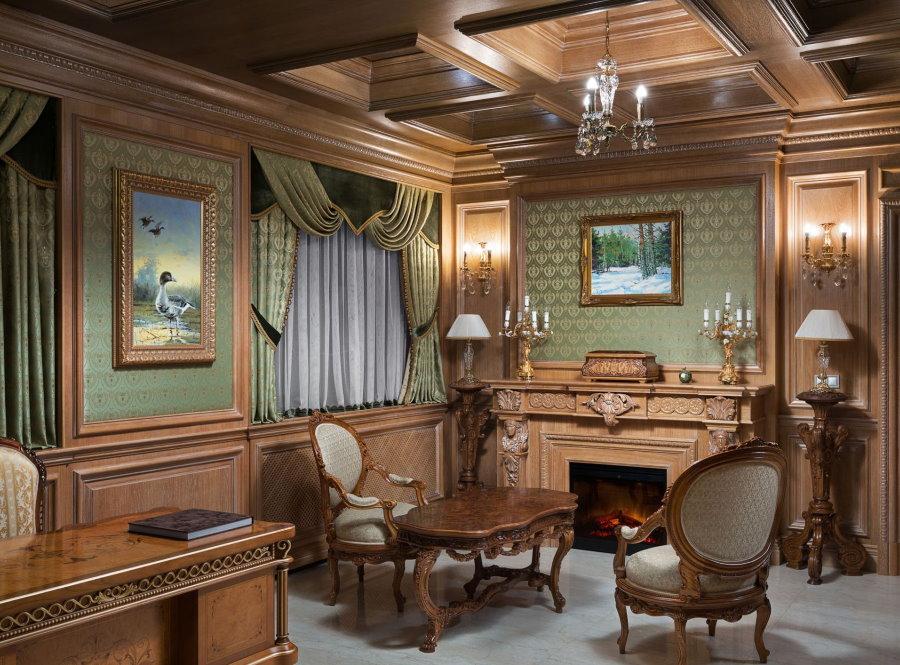 Деревянная отделка кабинета в стиле классика