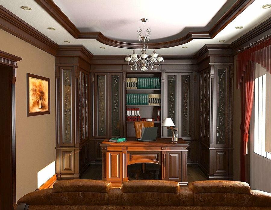 Декор деревом потолка в кабинете классического стиля