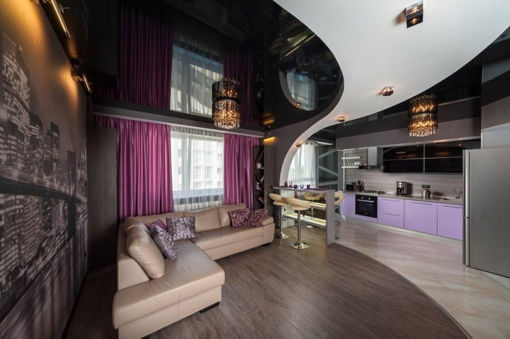 Черный натяжной потолок в кухне-гостиной