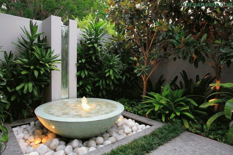 Стильный фонтан с бетонной чашей