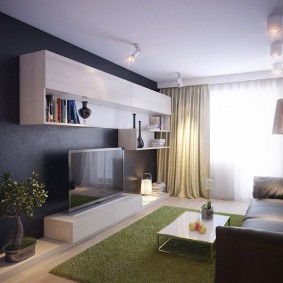 Подвесная стенка в гостиной комнате