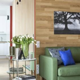 Зеленые диван у стены с отделкой ламинатом