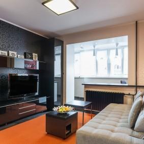 Черный цвет в интерьере однокомнатной квартиры