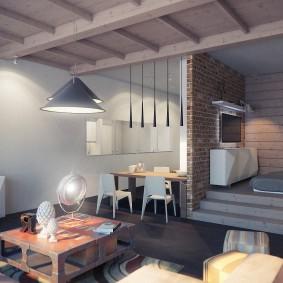 Оформление квартиры студии в духе лофта