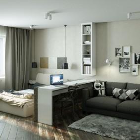 Зонирование спальни-гостиной невысоким стеллажом