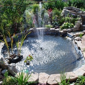 Дачный пруд с фонтаном посередине