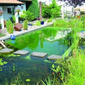 Большой пруд для купания на даче