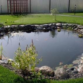 Ровная гладь воды в водоеме на даче