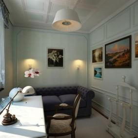 Декор картинами стен в рабочем кабинете