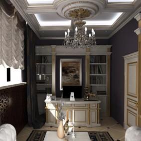 Золотистый декор в интерьере кабинета