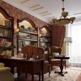 Встроенные стеллажи в домашнем кабинете