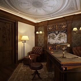 Художественная роспись потолка в кабинете