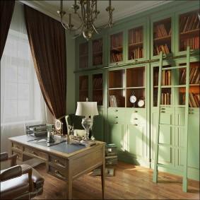Зеленая мебель из натурального дерева