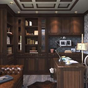 Обзор маленького кабинета в стиле классика