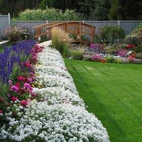 Красивый цветник вдоль английского газона