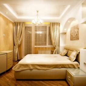 Освещение спальной комнаты с разными обоями