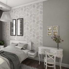 Разделение спальни на зоны с помощью обоев