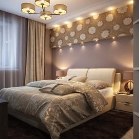 Пример освещения спальной комнаты в современном стиле
