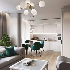 Кухня гостиная в трехкомнатной квартире