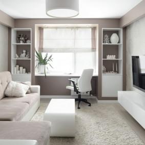 Светлая гостиная в 3-х комнатной квартире серии П 44