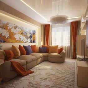 Оформление зала в трехкомнатной квартире